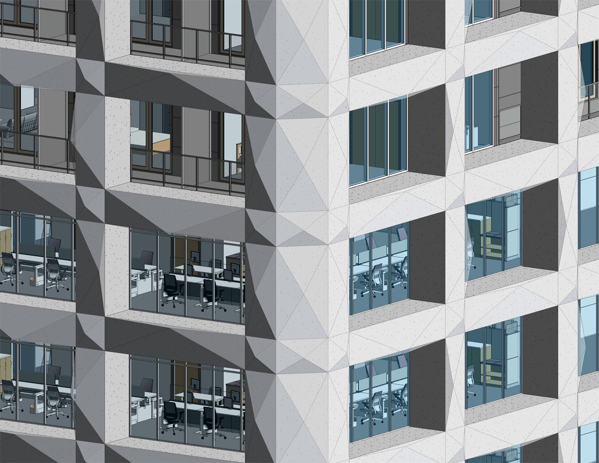 One Seneca Tower Faceted Terracotta Panel Design