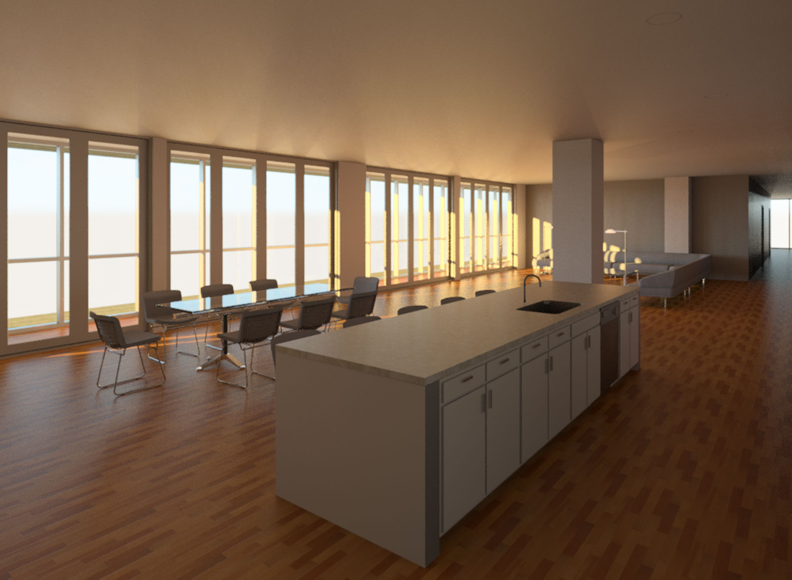 OST Penthouse Living room and Kitchen Render