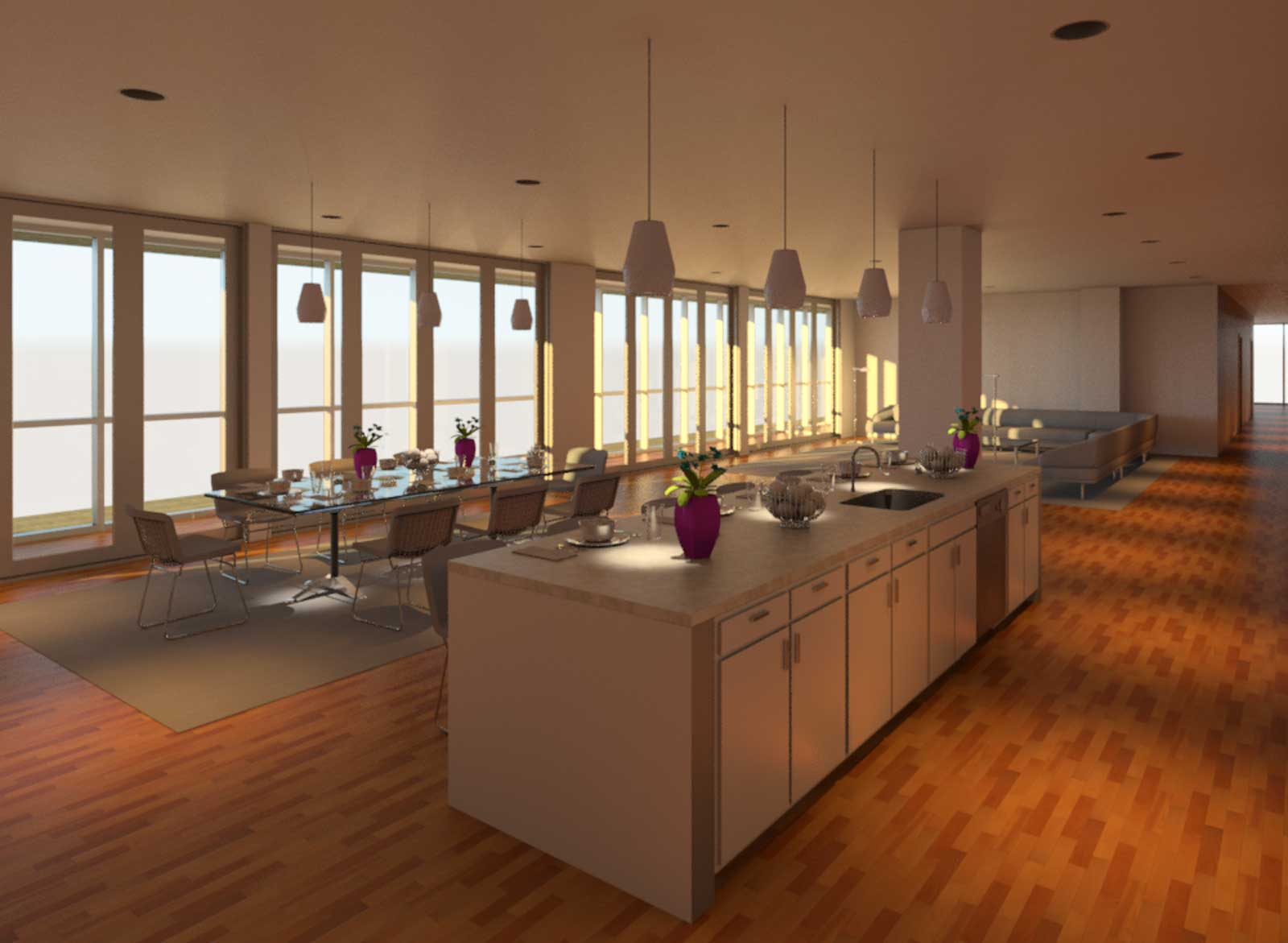 OST Penthouse Living and Kitchen Render 4