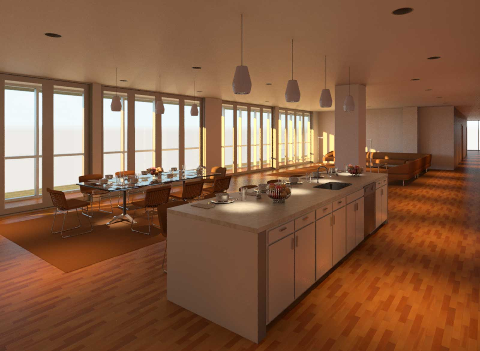 OST Penthouse Living and Kitchen Render 5