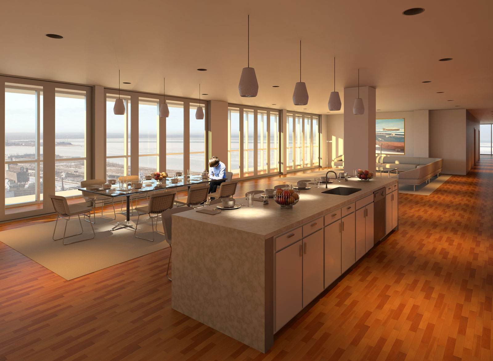 OST Penthouse Living and Kitchen Render 7