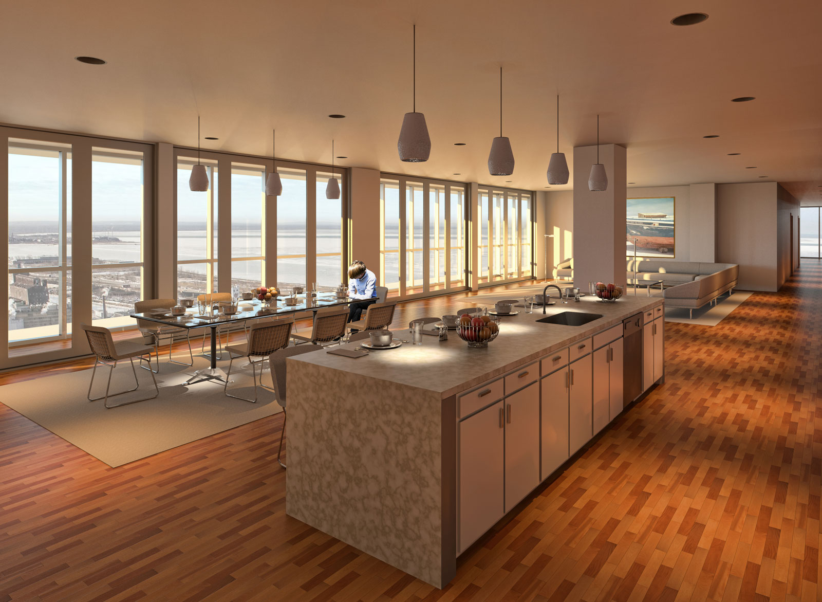 OST Penthouse Living and Kitchen Render 1