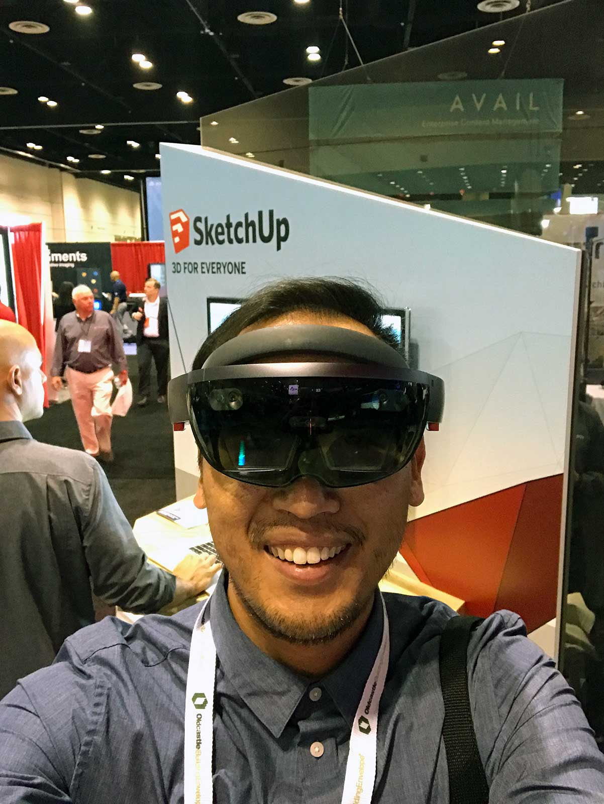 Trying on Sketchup HoloLens