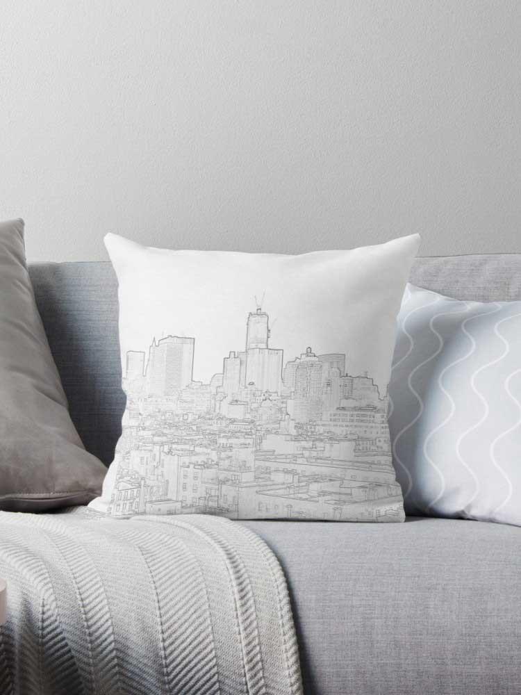 One World Trade Construction Skyline Throw Pillow