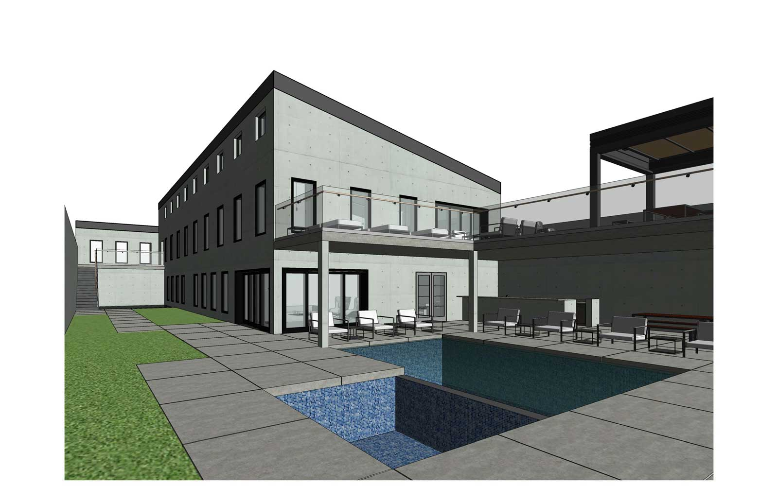 17x30 - Single Family High End Residence - Courtyard View