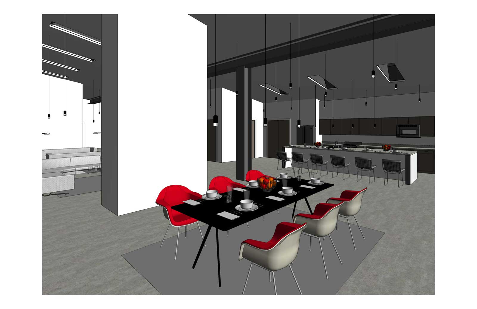 17x30 - Single Family High End Residence - Dining Sketch