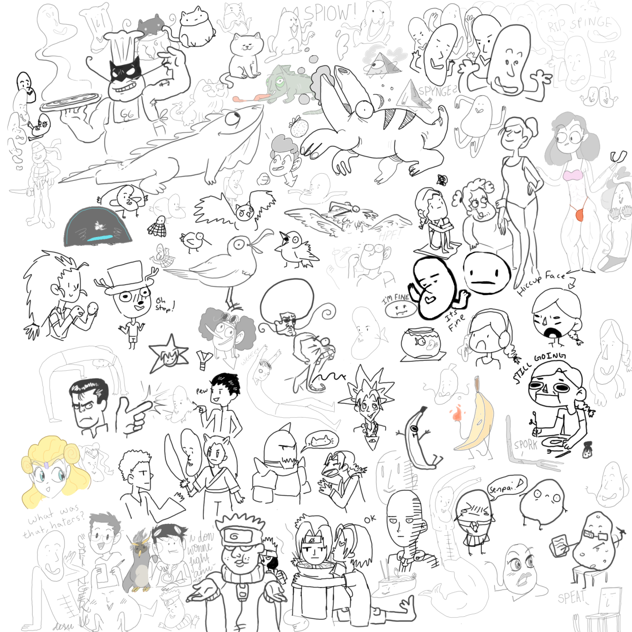 #353 is a bunch of HILARIOUS doodles from today's drawpile session with pals Tilman and Dan~  @chobs   @turtleco