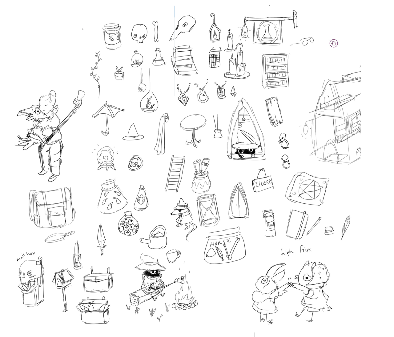 #185 is a ton of doodles for assets in the next scene I'm working on, a necromancer caravan!