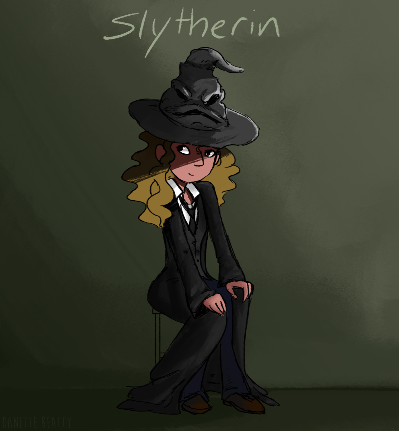 #131 I just got done re-watching all the Harry Potter movies and did a quick drawing of me getting sorted  : D I certainly feel like the bad guy getting sorted into Slytherin, but it kinda makes sense too