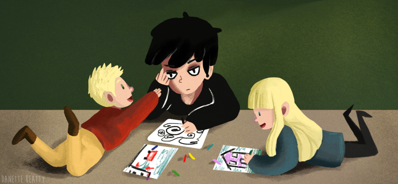 #105 is this goth kid babysitting. I have this story with him where children love him instantly for no reason so all the parents in the town fight to try and get him to babysit <3