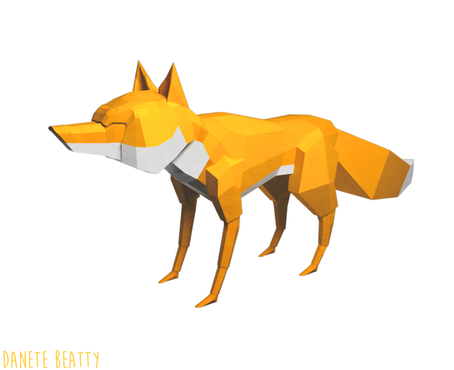 #95 is a low-poly paper fox for Papercraft!