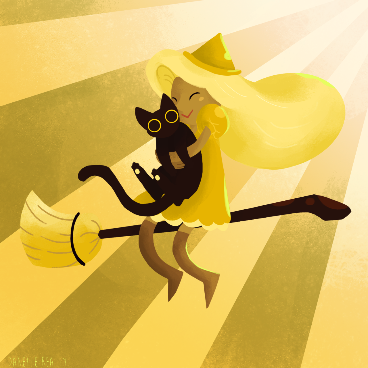 I loved    @svff  's witches for that Google Doodle game! Being a cat lady, I naturally picked yellow team so I decided to do some fan art! <3 daily paint day #79