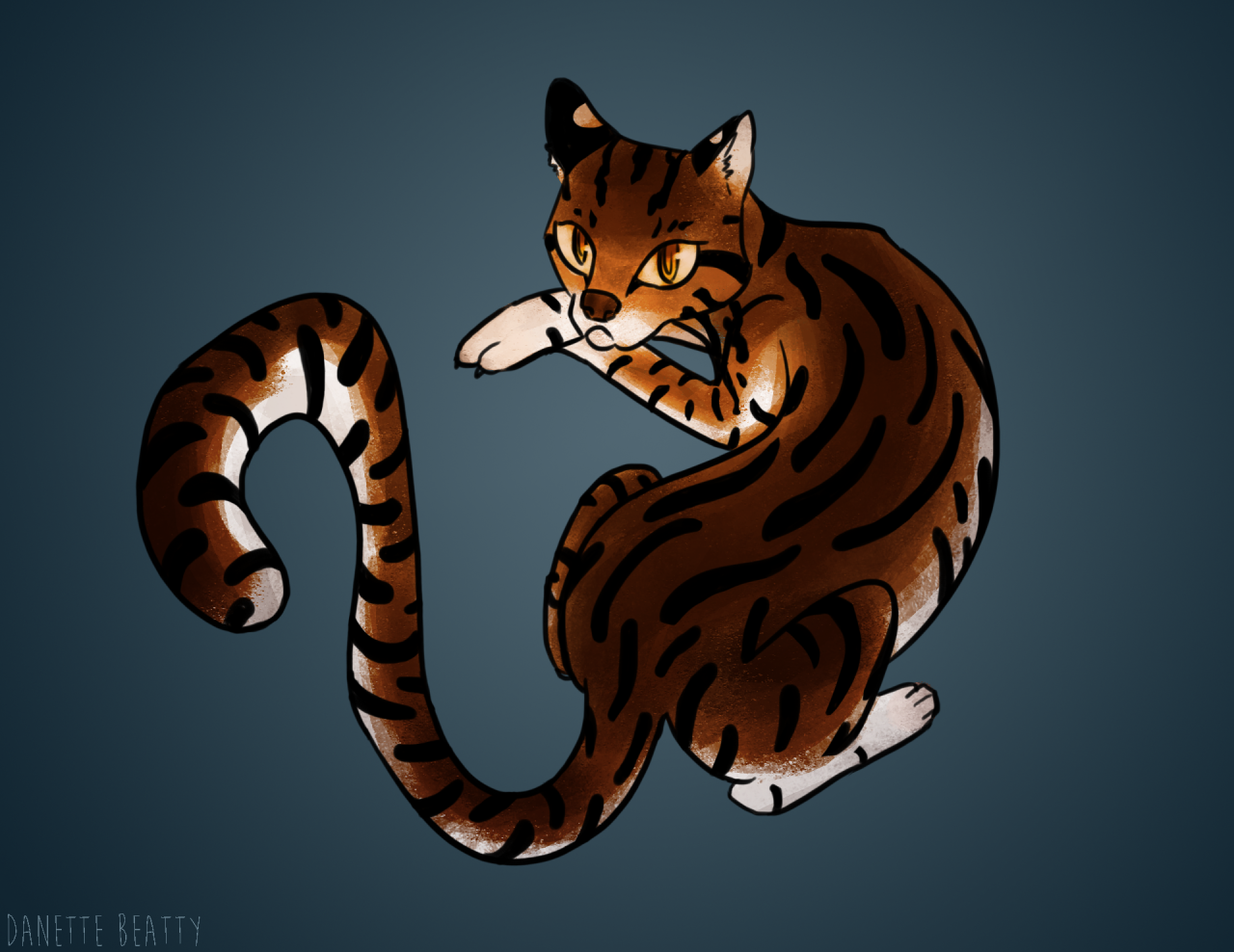 Daily paint #77 is an Ocelot for national cat day!