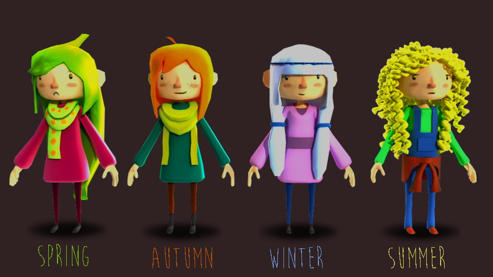 Here are my Seasonal girl's 3D models! I forgot I did these XD