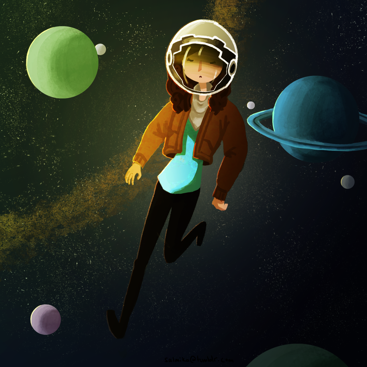 I watched Interstellar again recently and was definitely touched by how beautiful space is  Here is me floatin around space with only a helmet XD