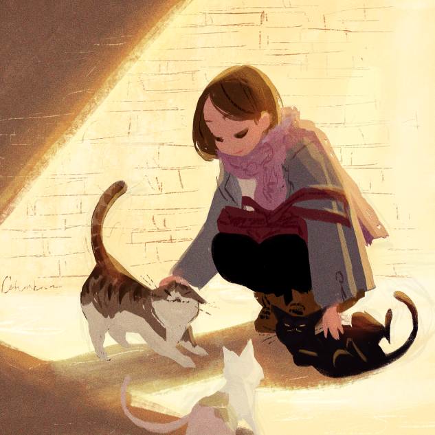 celine-kim :     Another quick one before bed. Went more like Tadahiro.  I used to play with street cats back in Korea. Super adorkable creatures!    I love how simple this is, and how it catches a moment in time perfectly