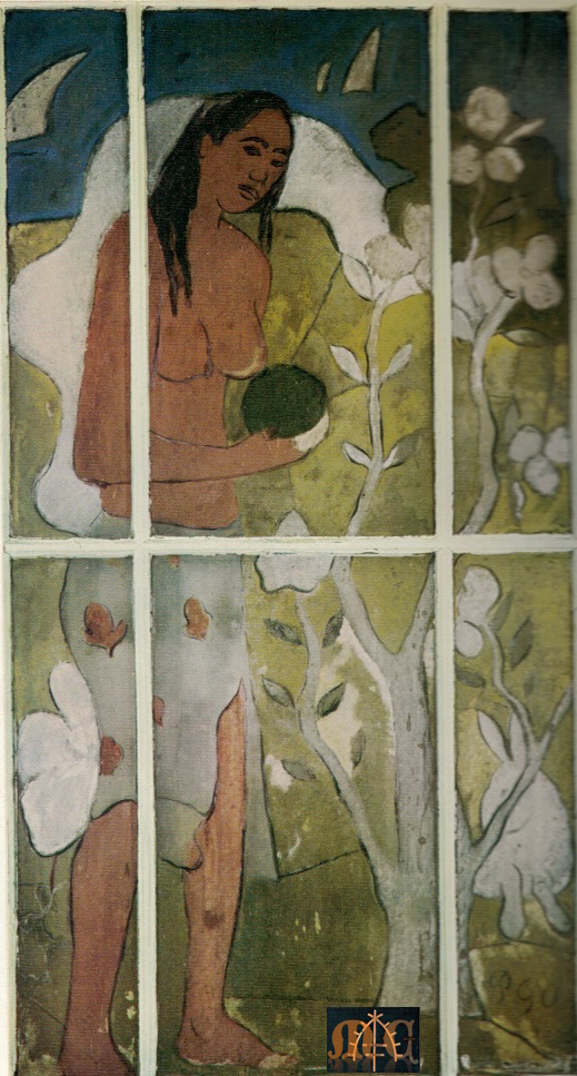 """Tahitienne debout"" by Paul Gauguin (1848–1903), W. Somerset Maugham personal collection. Maugham found this glass panel painting on an interior door in Tahiti. Our author owned a work by a Gauguin, a painter whose life inspired Maugham to write The Moon and Sixpence, basing loosely his main character Charles Strickland on Gaugin's life. Got it? Learn more about Maugham    here."