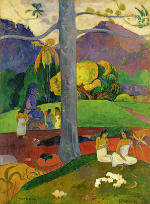 "Tahiti evoked by Paul Gaugin, not Charles Strickland.     Matamua (In Olden Times) , 1892, ""Paul Gauguin"" at Fondation Beyeler, Riehen (2015)"