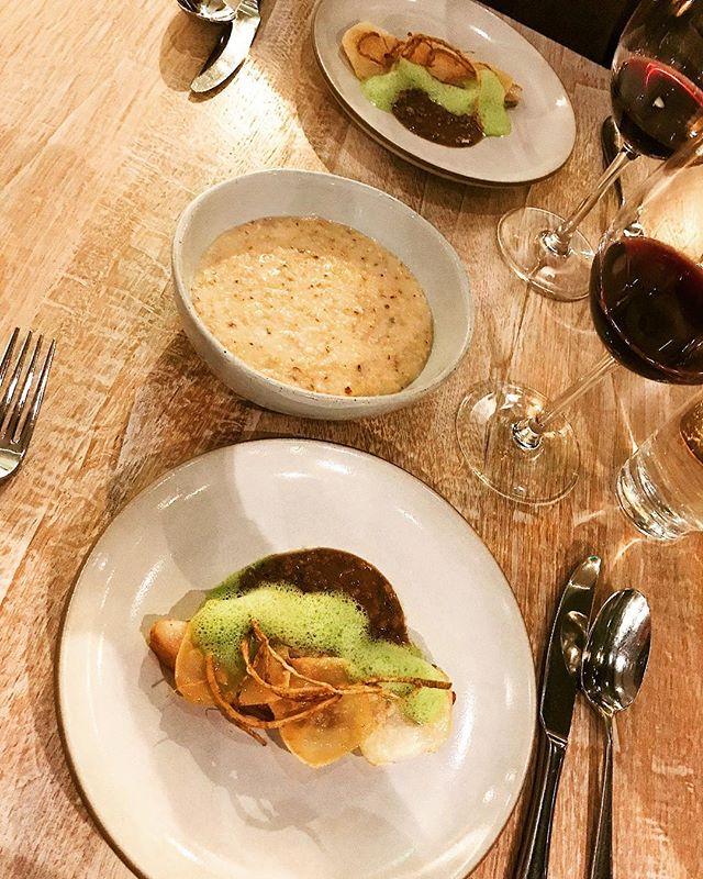 VICIA // 5 of 6 // @viciarestaurant - The fourth course brought us back inside for this amazing pork, celery root, and Missouri polenta plates. #tastingmenu #datenight #bae