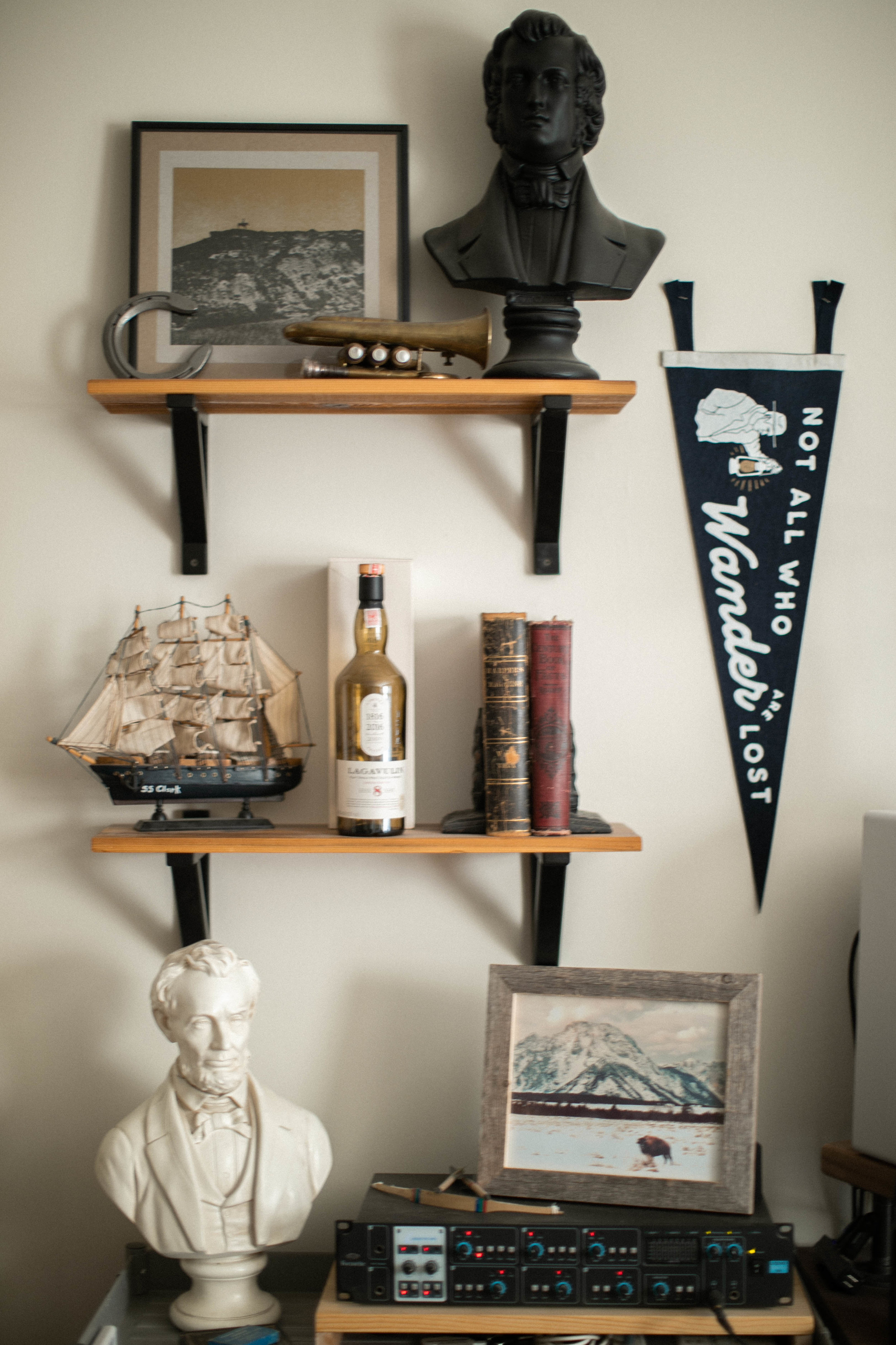 Curation of collected objects on home shelving