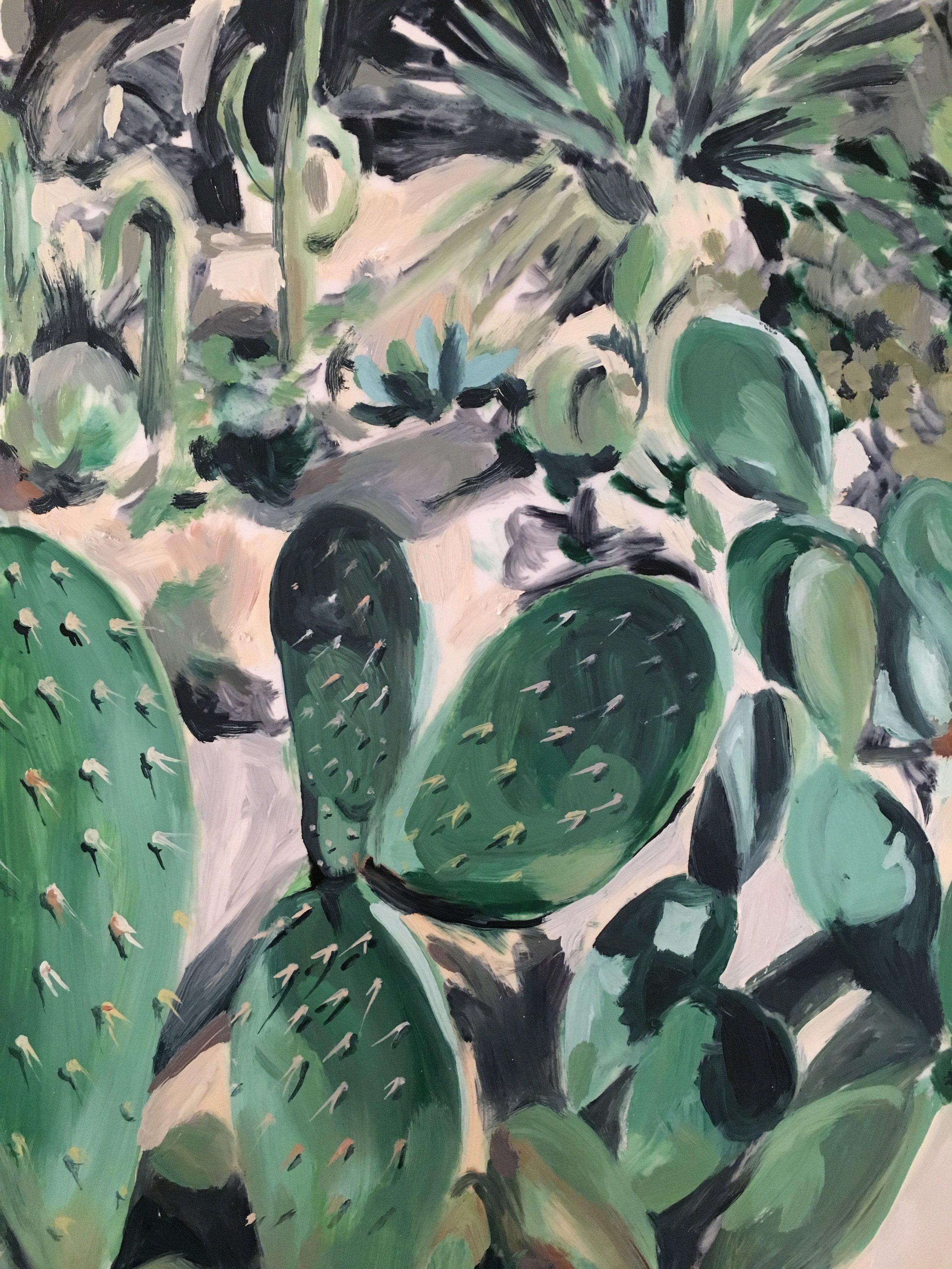 "Plants in Captivity No. 4 | Oil on Duralar | 11 x 14"" L"