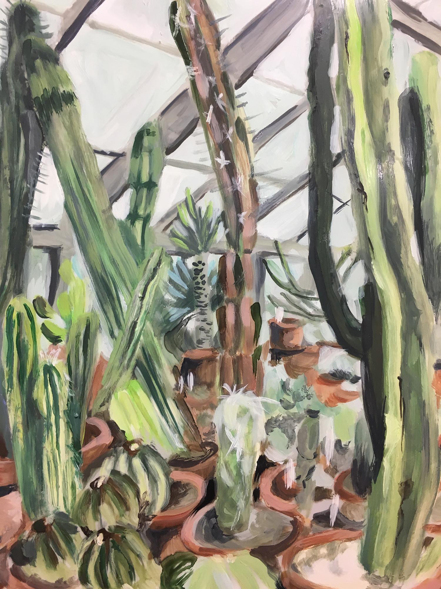 "Plants in Captivity No. 12 | Oil on Duralar | 11 x 14"" L"