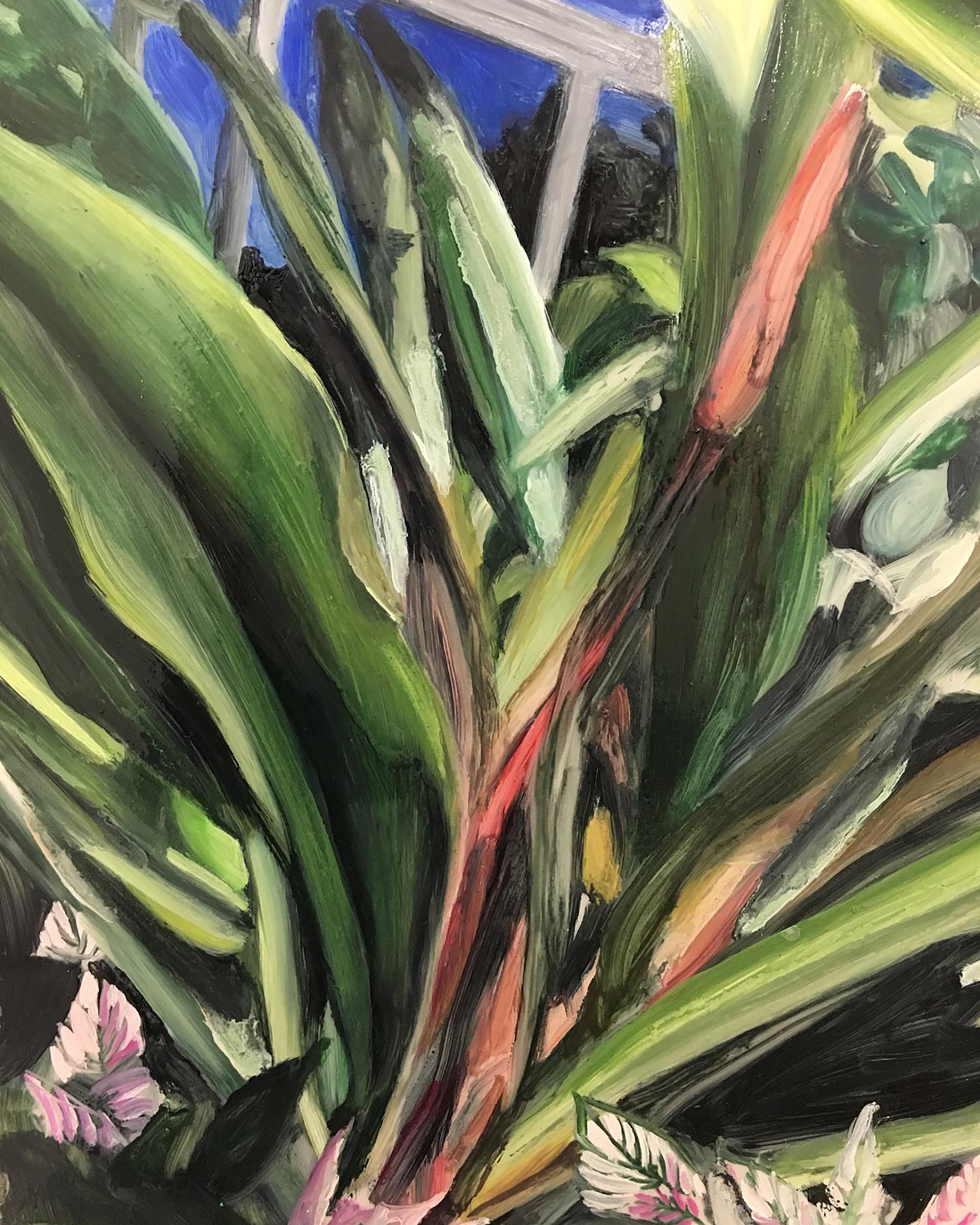 "Plants in Captivity No. 9 | Oil on Duralar | 11 x 14"" L"