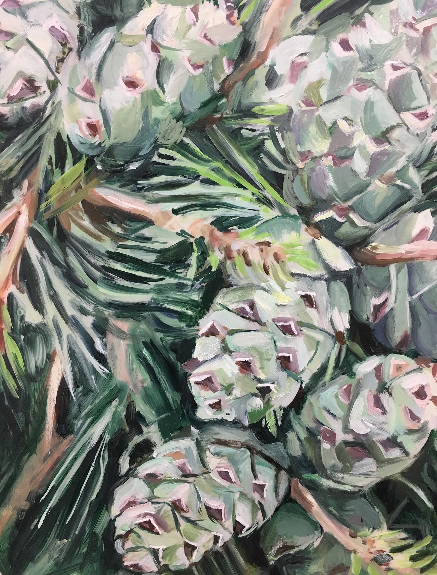 "Plants in Captivity No. 10 | Oil on Duralar | 11 x 14"" L"