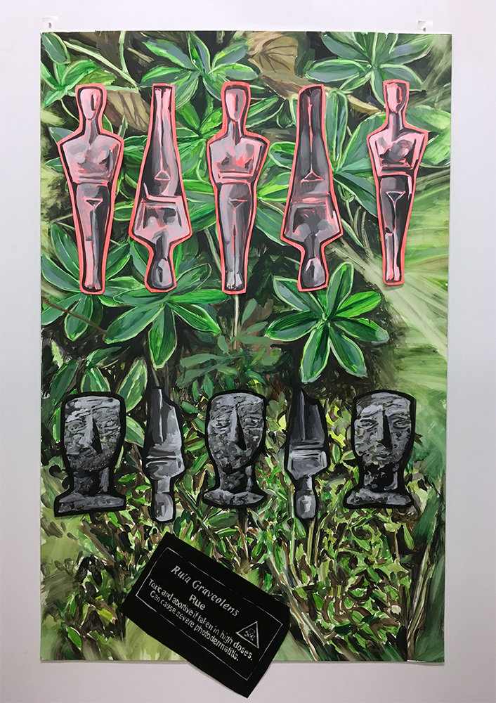 "Utopia Vs. Extinction No. 7 | India Ink, Acrylic & Oil on Yupo Paper | 40 x 26"" h"