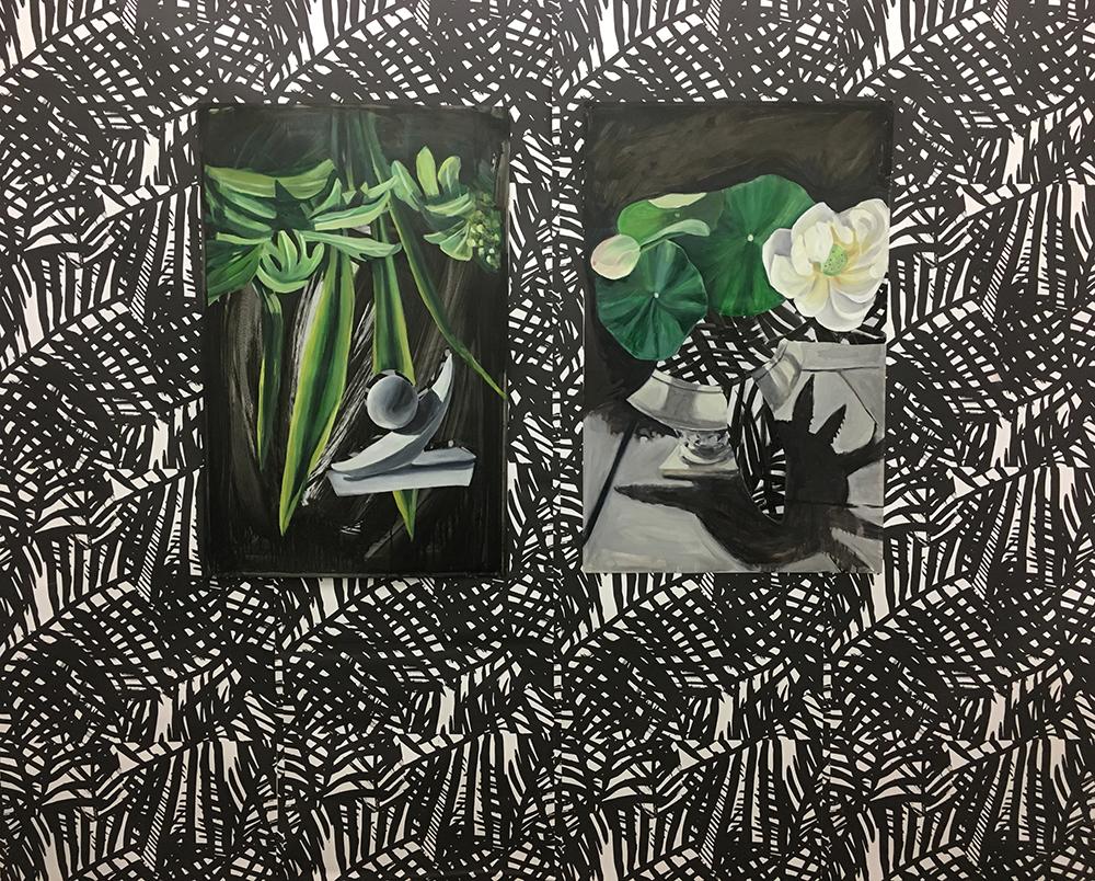 Installation: Utopia Vs. Extinction No. 3 & No. 1 | India Ink, Acrylic & Oil on Yupo Paper mounted to custom designed wallpaper | Installation: 8 x 8'