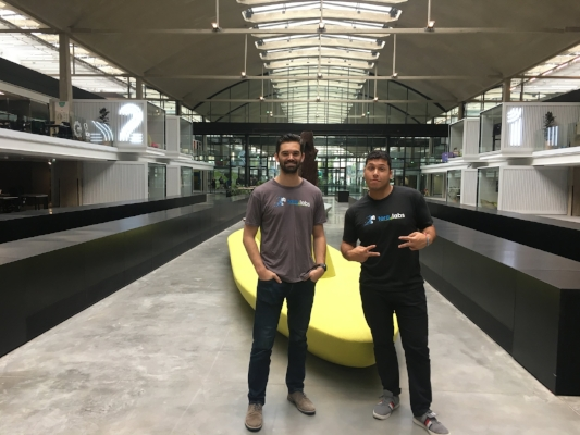 Torq Labs founders Justin Swenson, chief operating officer (left), and CEO Julian Holtzman work in Station F, a business accelerator in Paris.COURTESY OF TORQ LABS