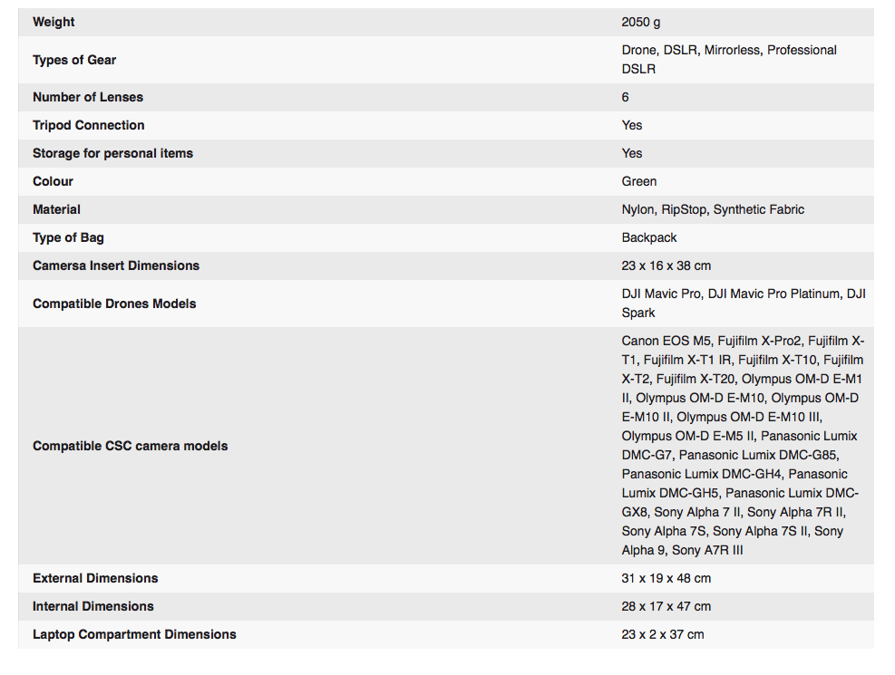 Full specs from Gitzo above. Click to enlarge