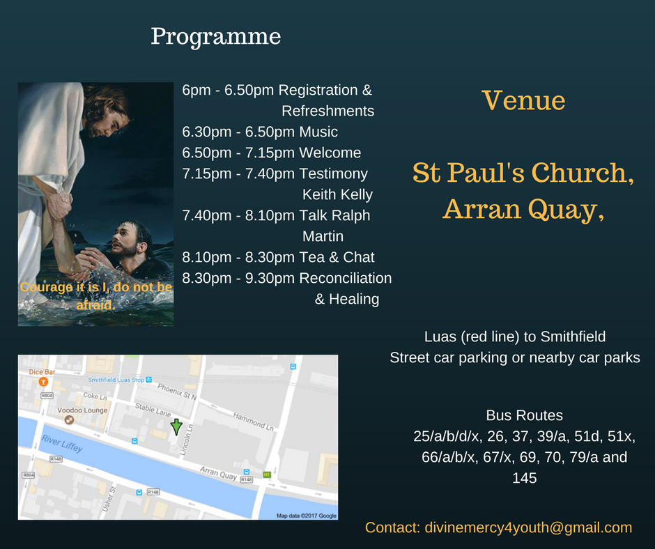 Dining Mercy 4 You(th) will be held in St.Paul's Church, Arran Quay. The luas red line and multiple bus stops will take you within walking distance of the venue.