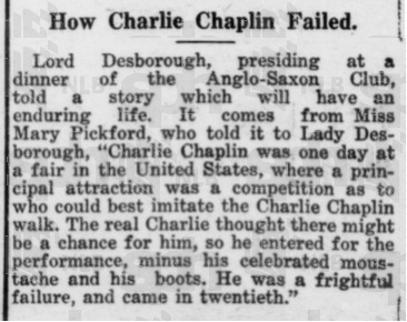 "Image source.  Singapore's The Straits Times, 10 Aug 1920, ""How Charlie Chaplin Failed"":"