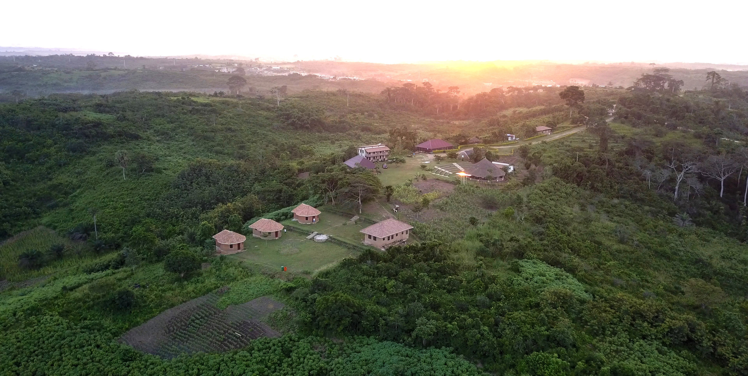 I also got a drone for the trip! Been learning how to fly… This is above Unity Eco Village in Ghana.