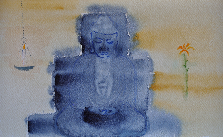 buddha with lamp and flower