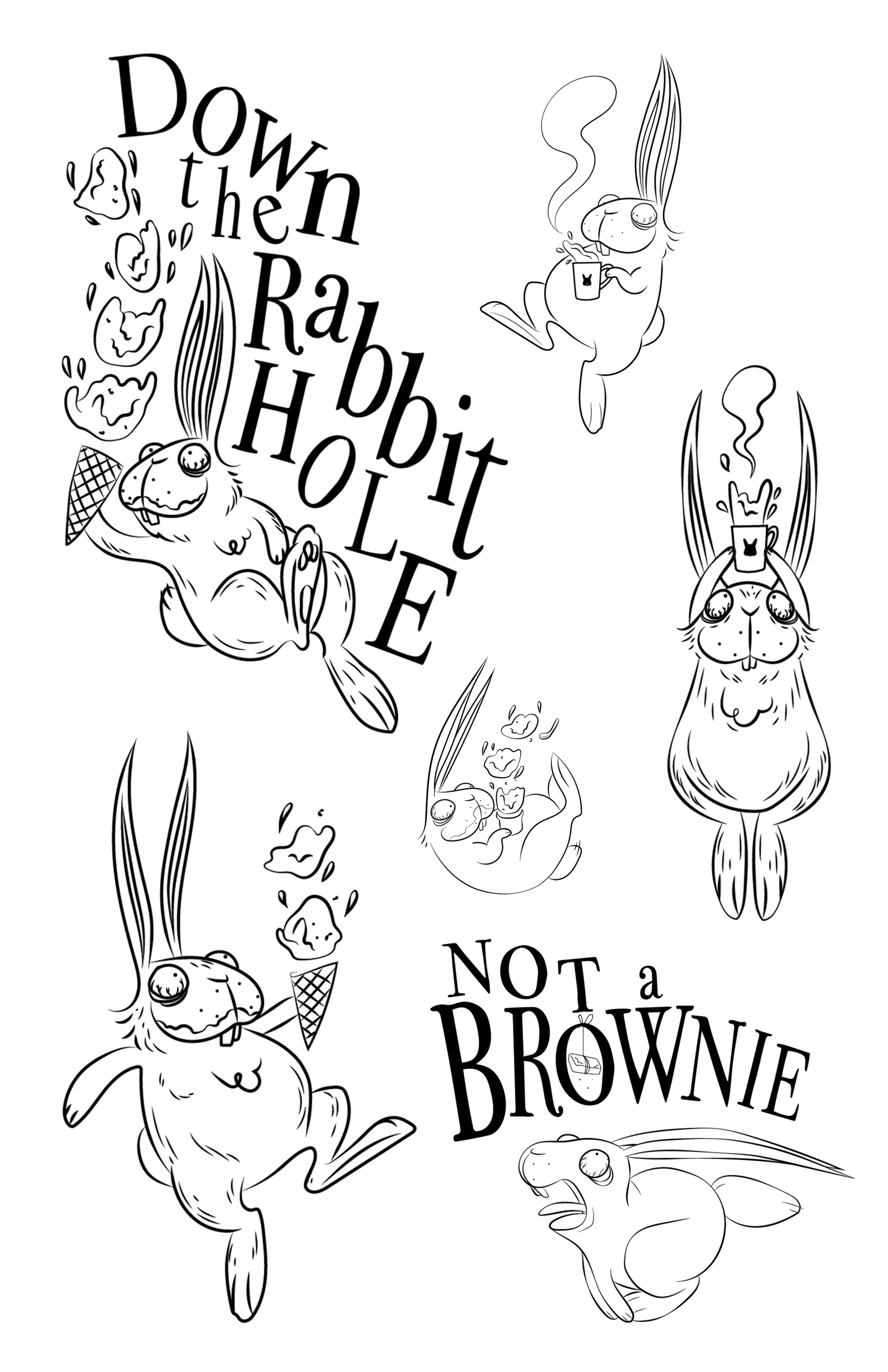 """These designs put a spotlight on the legacy of Bucky the Bunny. The illustrations feature a caffeine-crazed, sugar-high Bucky falling """"down the rabbit hole"""". I created an original serif typeface reminiscent of whimsical fairytales and quirky children's books. The result is a childlike, graphic depiction of Bucky's sweet addiction."""