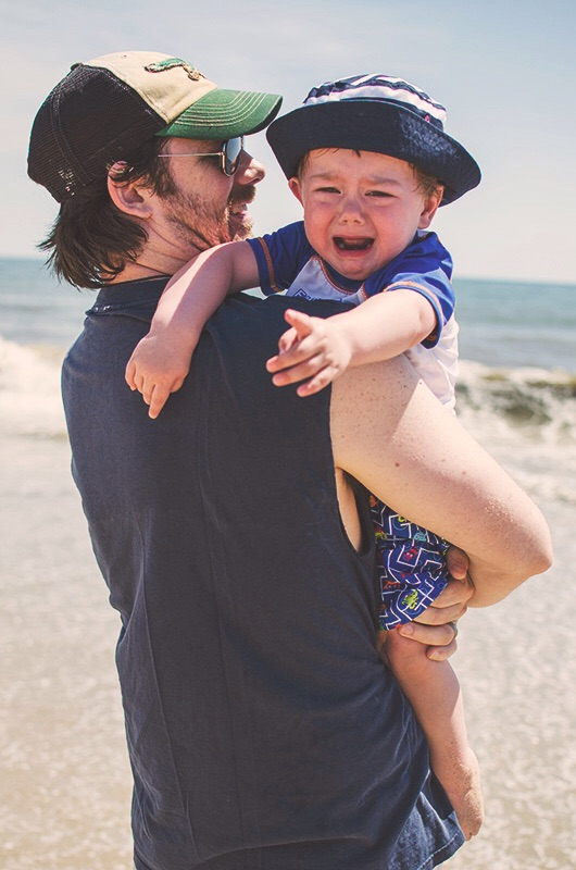 My little man was not a fan of the ocean but..