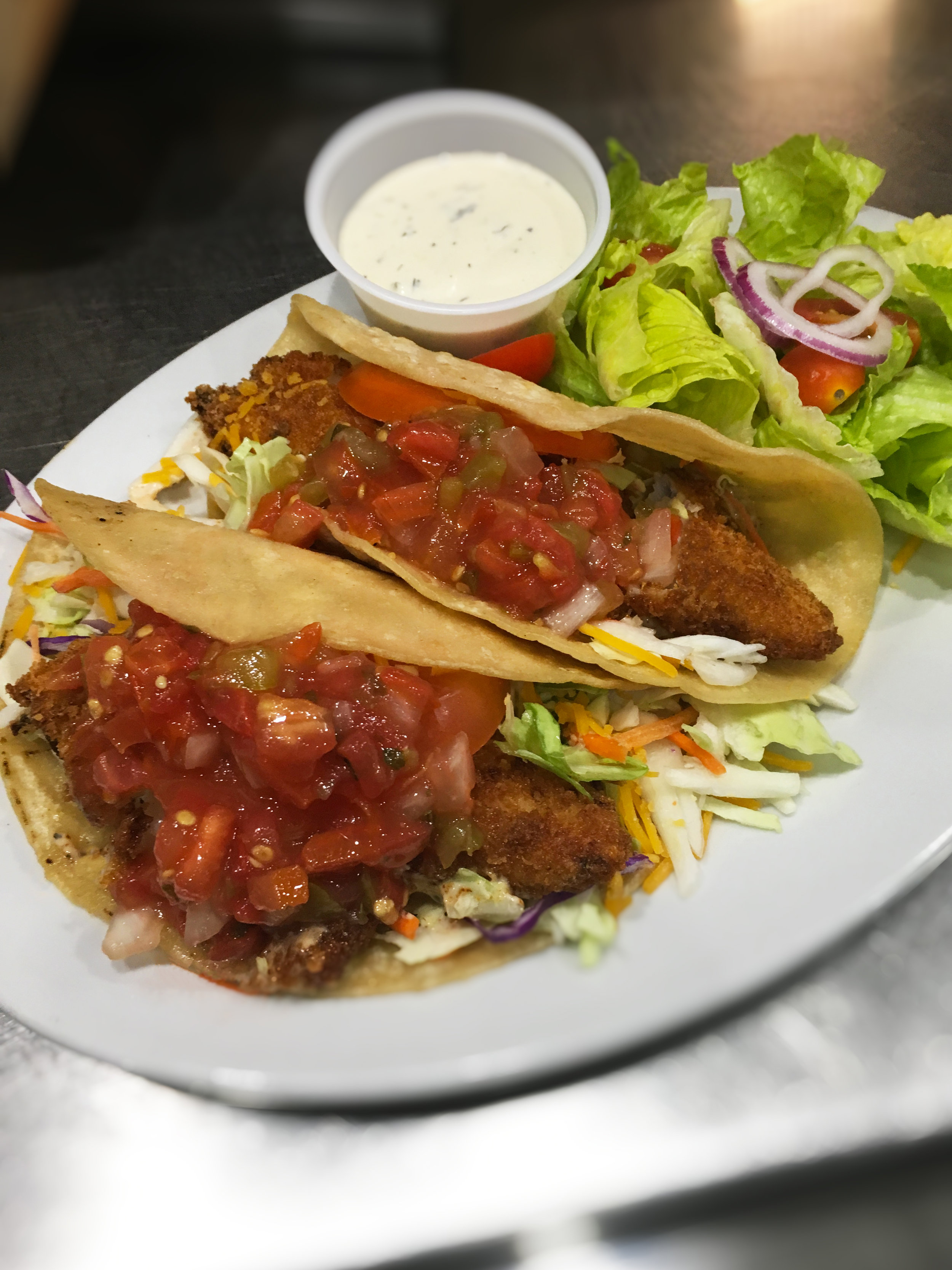 Fish Tacos Special with Salad