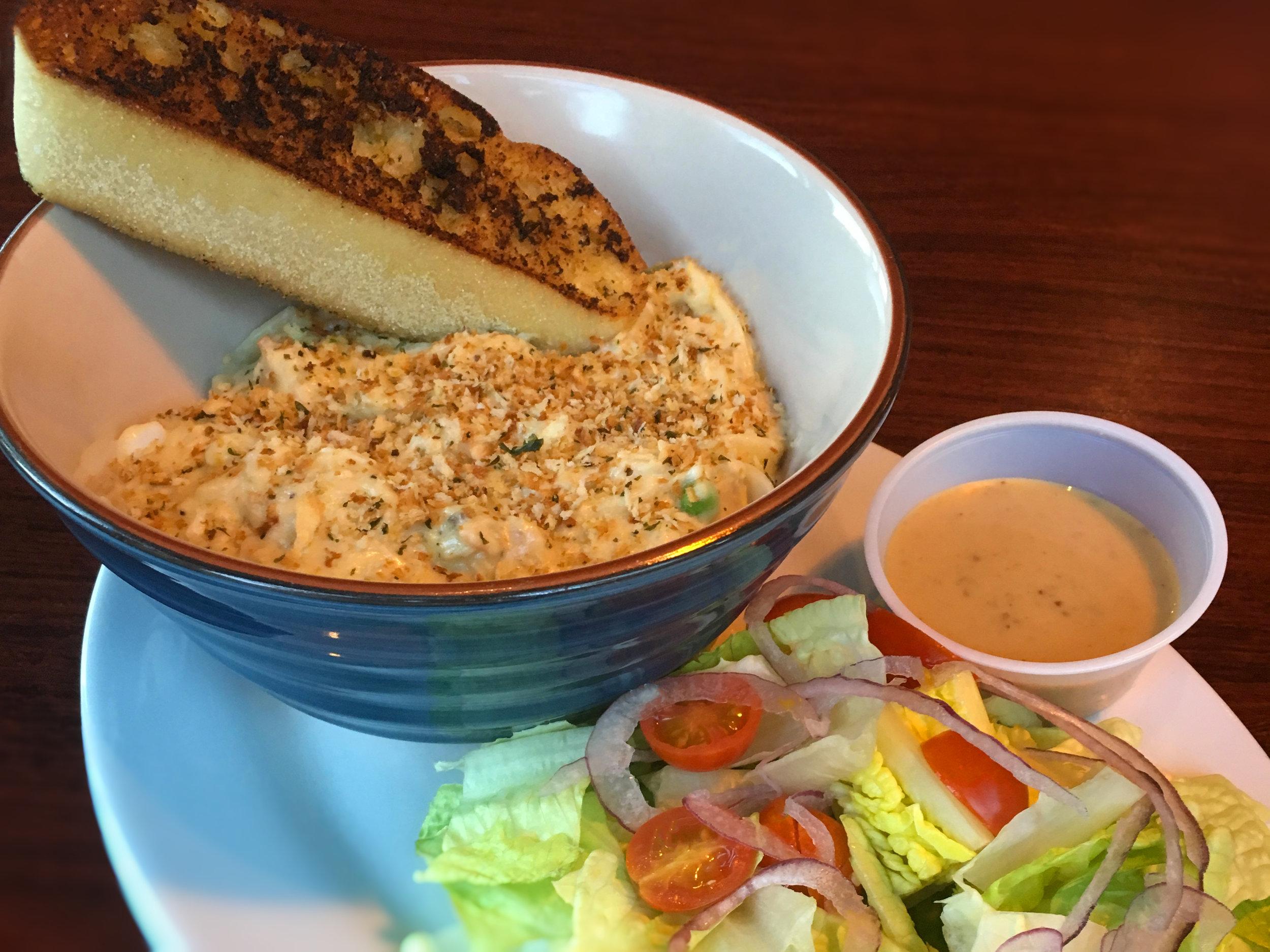 Cream Tuna with Noodles, Salad and Garlic Bread