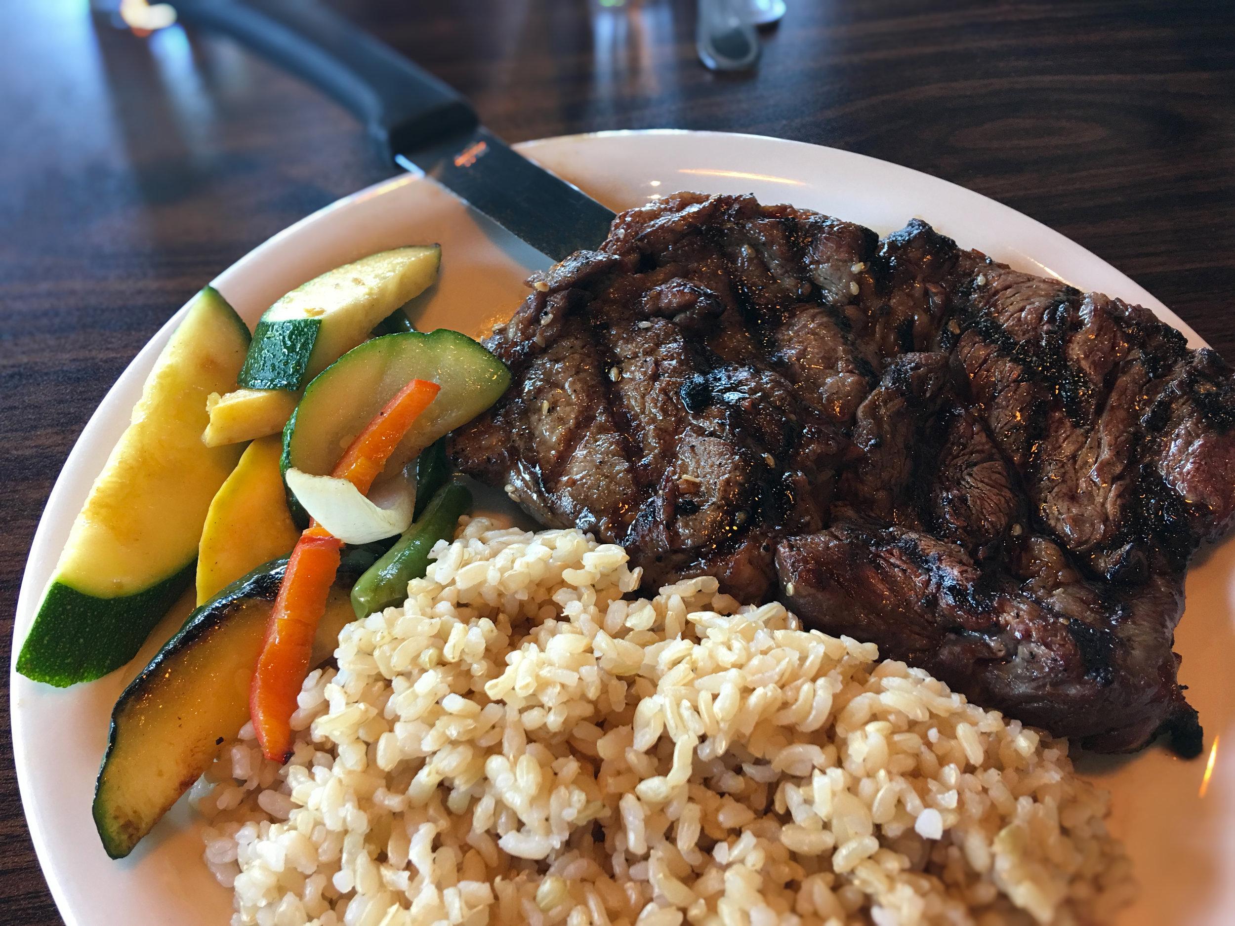 Rib Steak Mikado Style Teriyaki w Brown Rice & Veggies Special