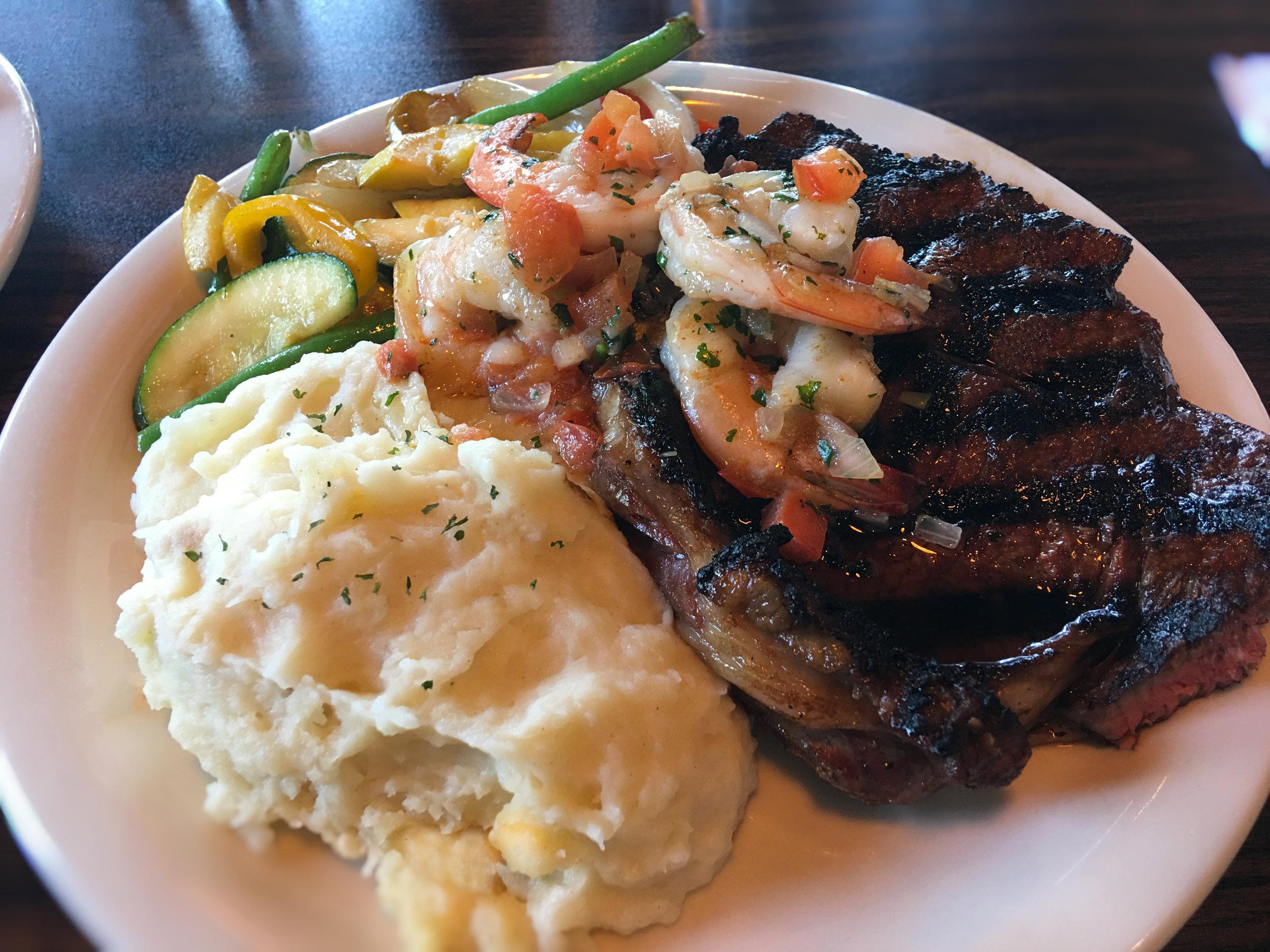Rib Steak Mikado Style Teriyaki w Garlic Prawns Special