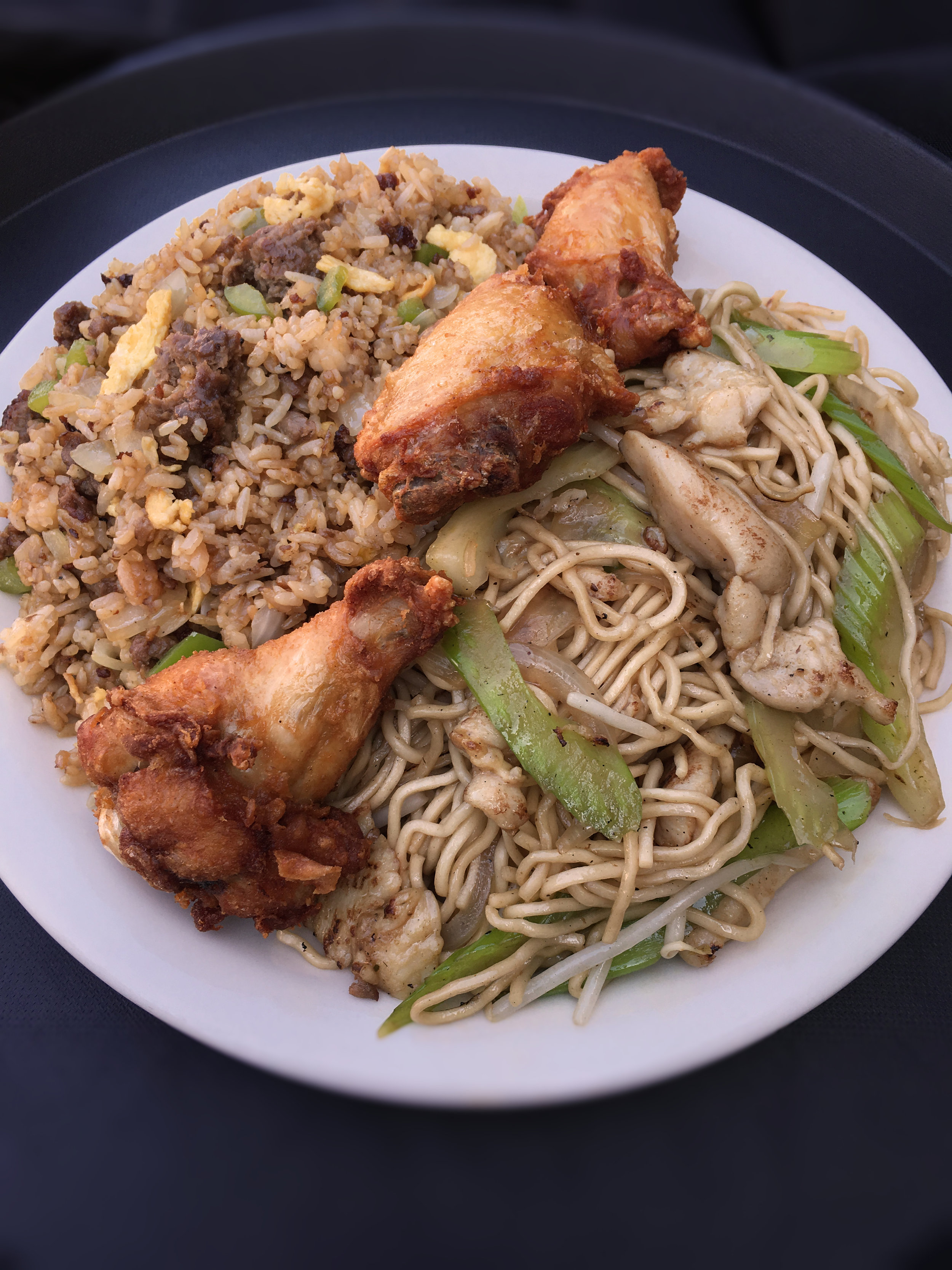T's Combo Plate – Chicken Chow Mein, Imperial Classic Mix-Up Fried Rice & Garlic Chicken Wings
