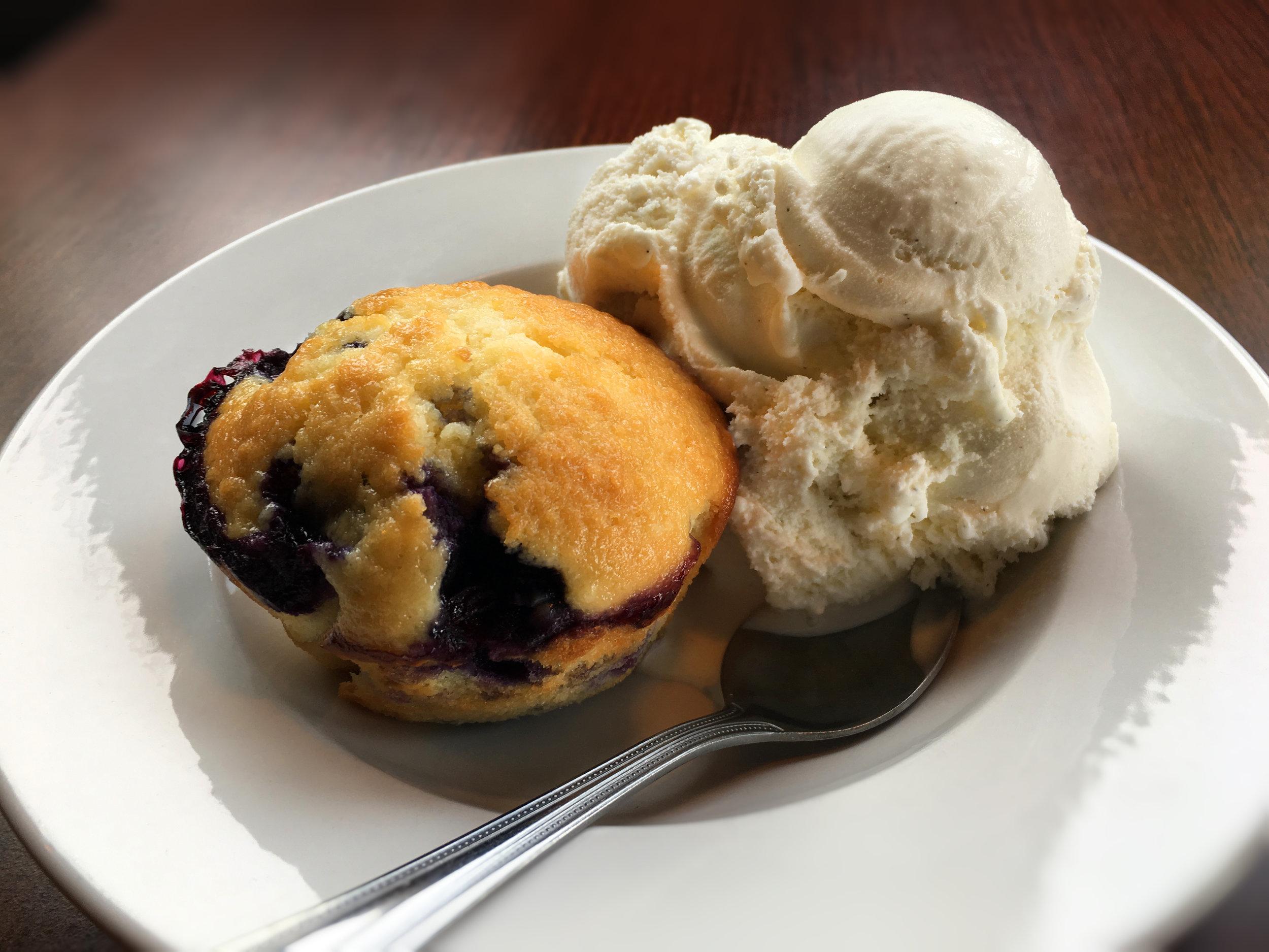 Blueberry Muffin with Ice Cream Dessert