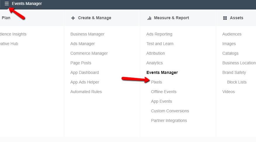 Facebook ads manager, events manager, pixels