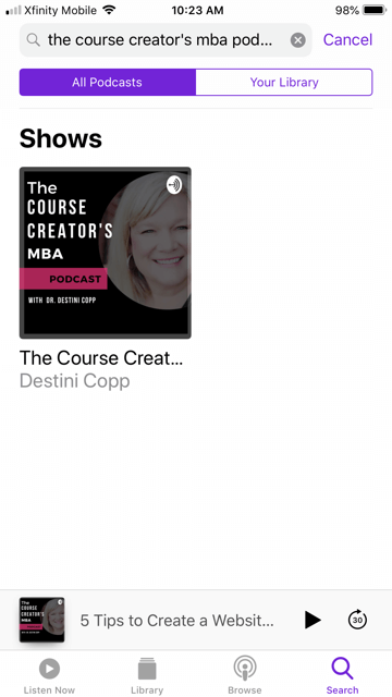 Search for the Course Creator's MBA Podcast and click on the show.