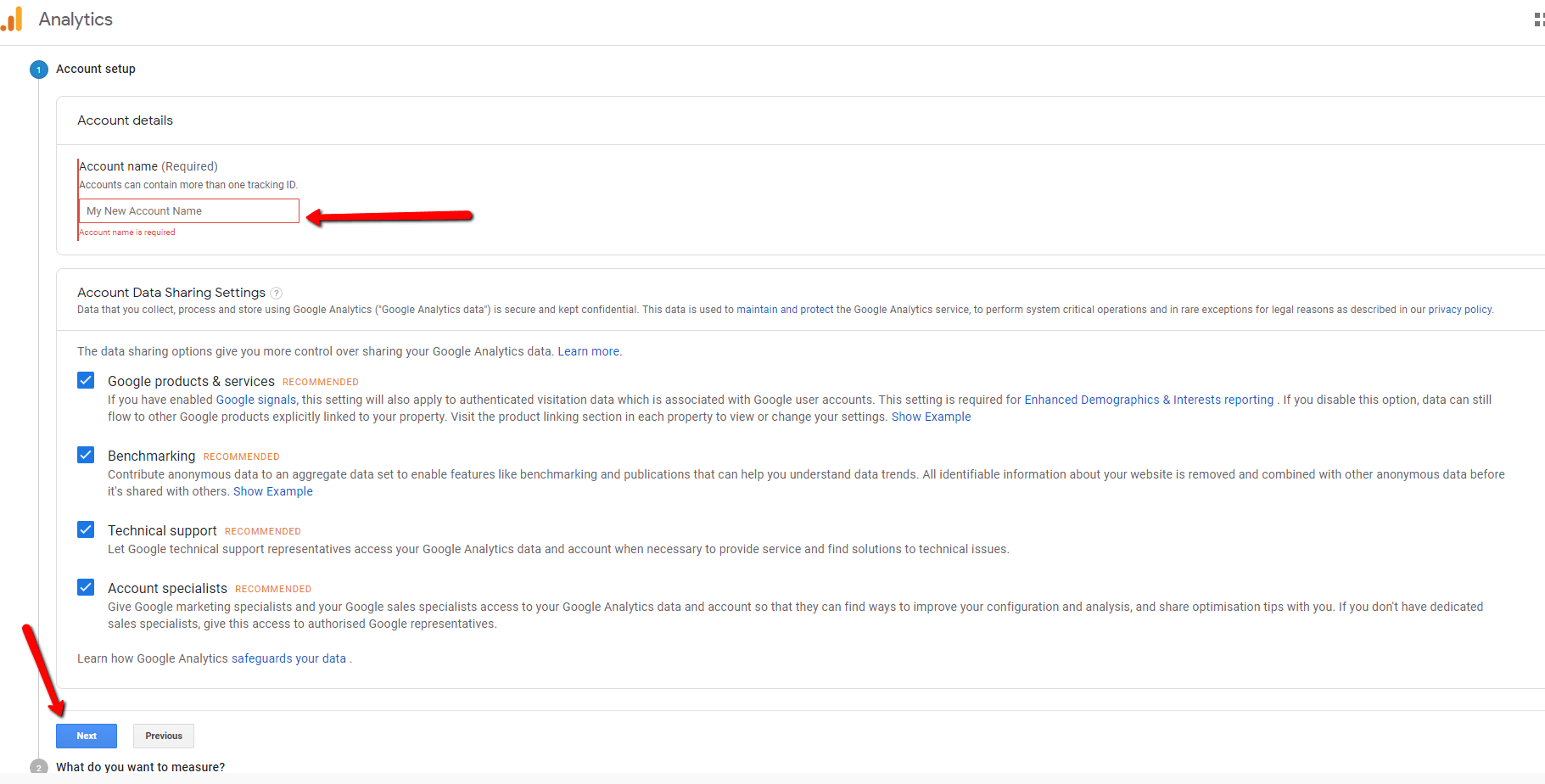 Google Analytics Account Set Up