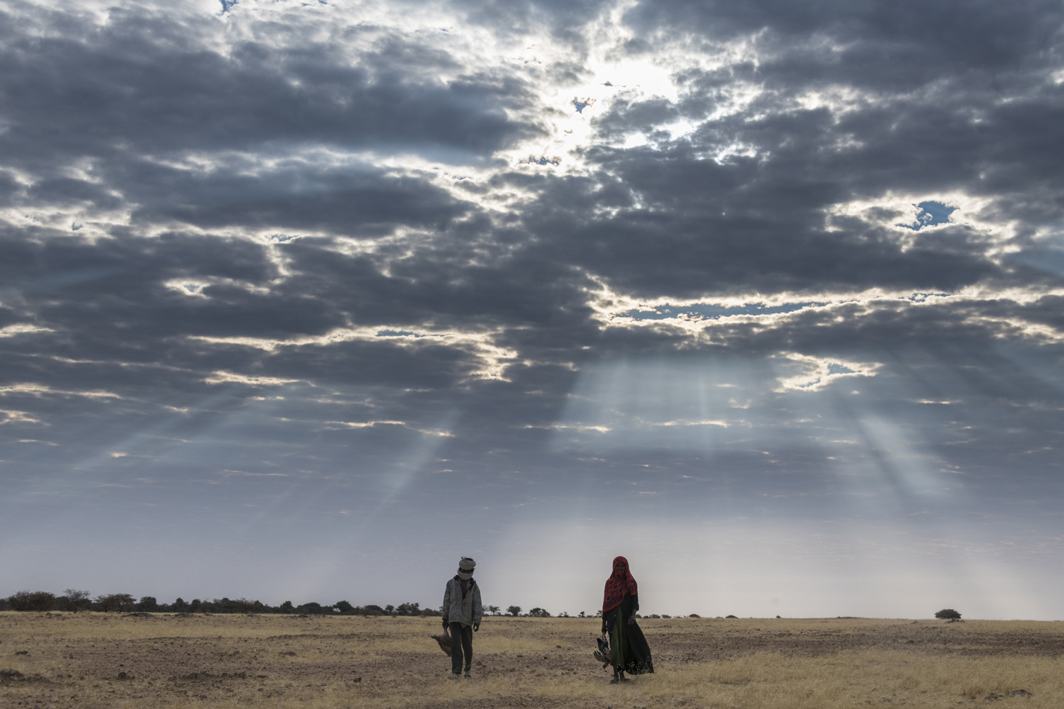 Beduin children walking under a dramatic sky in the Sahel, Chad, Africa