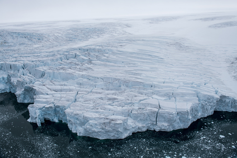 Aerial of the massive glacier of Alexandra land, Franz Josef Land archipelago, Russia
