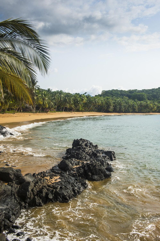 Beautiful beach in the Bom Bom Resort,Unesco Biosphere reserve, Principe, Sao Tome and Principe, Atlantic Ocean